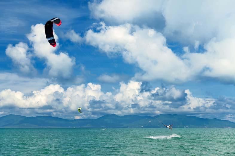 Wake boarding with watersports helmet